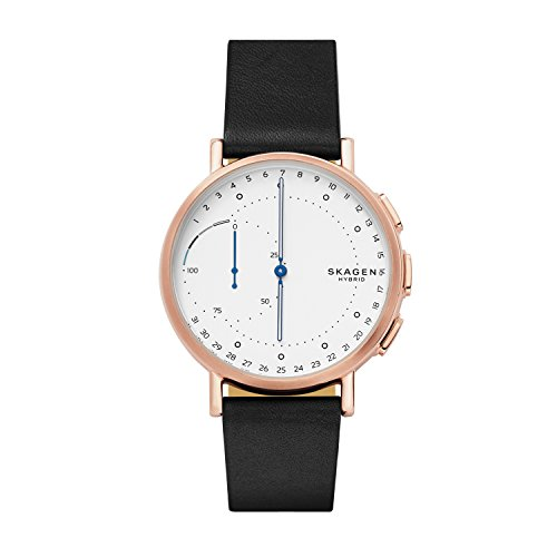 スカーゲン 腕時計 メンズ SKT1112 Skagen Hybrid Smartwatch Signature Stainless Steel Quartz Watch with Leather Calfskin Strap, Black, 20 (Model: SKT1112)スカーゲン 腕時計 メンズ SKT1112