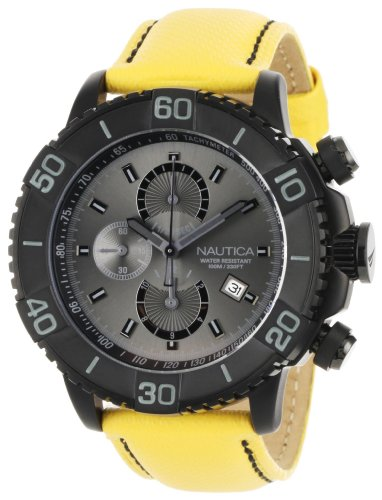 ノーティカ 腕時計 メンズ N20063G Nautica Men's N20063G NST 500 Yellow Polyurethane and Grey Dial Watchノーティカ 腕時計 メンズ N20063G