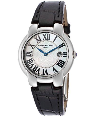 レイモンドウィル 腕時計 レディース スイスの高級腕時計 RW-5229-STC-00970 Raymond Weil 5229-Stc-00970 Women's Jasmine White Mop Dial Black Genuine Leather Watchレイモンドウィル 腕時計 レディース スイスの高級腕時計 RW-5229-STC-00970