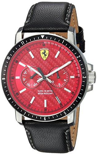 フェラーリ 腕時計 メンズ 830449 Ferrari Men's Turbo Stainless Steel Quartz Watch with Leather Strap, Black, 22 (Model: 830449)フェラーリ 腕時計 メンズ 830449