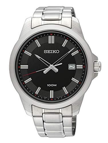セイコー 腕時計 メンズ SUR245P1 【送料無料】Seiko Men's 42mm Steel Bracelet & Case Hardlex Crystal Quartz Black Dial Analog Watch SUR245セイコー 腕時計 メンズ SUR245P1