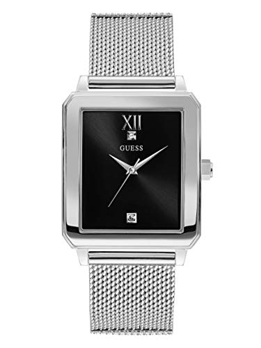 ゲス GUESS 腕時計 メンズ U1074G1 GUESS Rectangular Stainless Steel Mesh Bracelet Watch with Black Genuine Diamond Dial. Color: Silver-Tone (Model: U1074G1)ゲス GUESS 腕時計 メンズ U1074G1