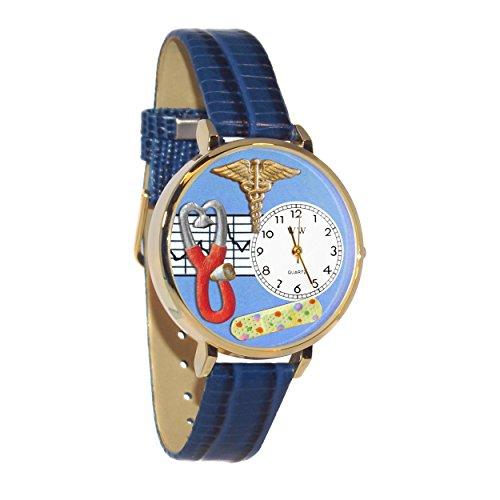 気まぐれな腕時計 かわいい プレゼント クリスマス ユニセックス 【送料無料】Nurse 2 Blue Leather and Goldtone Watch #WG1-G0620059気まぐれな腕時計 かわいい プレゼント クリスマス ユニセックス