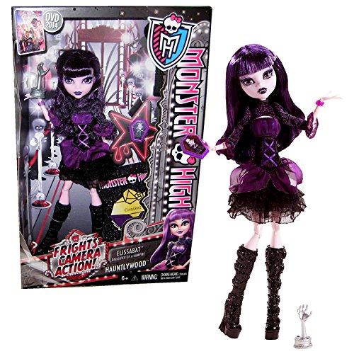 モンスターハイ 人形 ドール Mattel Year 2013 Monster High Frights, Camera, Action! Series 11 Inch Doll Set - ELISSABAT Daughter of a Vampire with Coffin-Shaped Phone, Hand Fright Award, Hairbrush and Doll Standモンスターハイ 人形 ドール