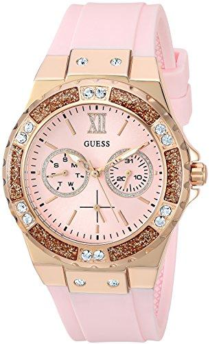 ゲス GUESS 腕時計 レディース U1053L3 GUESS Rose Gold-Tone Stainles Steel + Pink Stain Resistant Silicone Watch with Day + Date Functions. Color: Pink (Model: U1053L3)ゲス GUESS 腕時計 レディース U1053L3