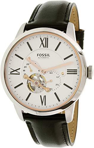 フォッシル 腕時計 メンズ 【送料無料】Fossil Men's Townsman Automatic Watch in Silvertone with Black Leather Strapフォッシル 腕時計 メンズ