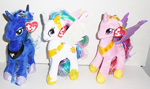 【即納】【送料無料】Ty Sparkle マイリトルポニー ぬいぐるみ3個セット 人形サイズ約22cm プリンセスルナ プリンセスケイデンス プリンセスセレスティア