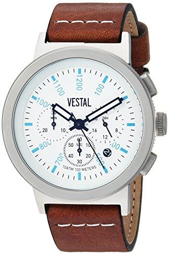ベスタル ヴェスタル 腕時計 メンズ SLR44CL04.LBWH Vestal Stainless Steel Quartz Watch with Leather Strap, Brown, 21.8 (Model: SLR44CL04.LBWH)ベスタル ヴェスタル 腕時計 メンズ SLR44CL04.LBWH