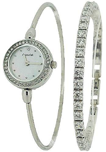 アキュリスト 腕時計 レディース イギリス ロンドン 【送料無料】Accurist Ladies Silver Tone Bangle Watch & CZ Tennis Bracelet Gift Set LB1573.01アキュリスト 腕時計 レディース イギリス ロンドン