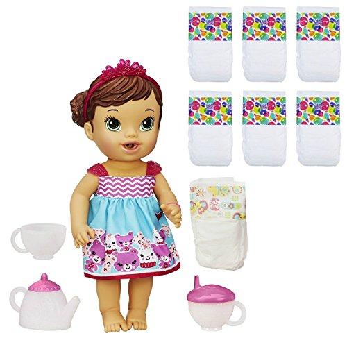 宅配 ベビーアライブ 赤ちゃん おままごと ベビー人形 ベビー人形 Baby (Brunette) Alive Lil Sips Baby Baby Has a Tea Party Doll (Brunette) & Baby Alive Diapers 6 Pack Bundleベビーアライブ 赤ちゃん おままごと ベビー人形, RinRin工房:0f8f9ab6 --- canoncity.azurewebsites.net