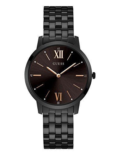 ゲス GUESS 腕時計 メンズ U1072G3 【送料無料】GUESS Stainless Steel Black Ionic Plated Bracelet Watch with Rose Gold-Tone Markers. Color: Black (Model: U1072G3)ゲス GUESS 腕時計 メンズ U1072G3