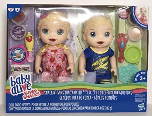 ベビーアライブ 赤ちゃん おままごと ベビー人形 【送料無料】Baby Alive Super Snacks Snackin Twins Lily Girl Doll and Luke Boy Doll Blonde NEW With Accessoriesベビーアライブ 赤ちゃん おままごと ベビー人形