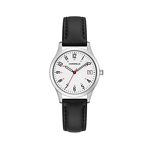 ブローバ 腕時計 レディース 43M118 Caravelle Women's Stainless Steel Quartz Watch with Leather Calfskin Strap, Black, 15 (Model: 43M118)ブローバ 腕時計 レディース 43M118