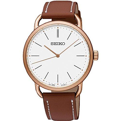 セイコー 腕時計 レディース SUR238 Seiko Women's 35mm Brown Leather Band Steel Case Hardlex Crystal Quartz White Dial Analog Watch SUR238セイコー 腕時計 レディース SUR238