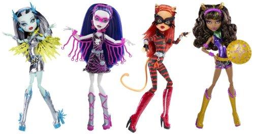 モンスターハイ 人形 ドール Monster High Power Ghouls Complete Bundle of 4: Voltageous, PolterGhoul, Cat Tastrophe, WonderWolf (Frankie Stein; Toralei Stripe; Clawdeen Wolf; Spectra Vondergeist)モンスターハイ 人形 ドール
