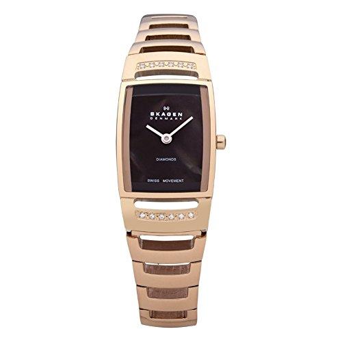 スカーゲン 腕時計 レディース 985SRXD Skagen Denmark Womens Watch Swiss Rectangle Brown MOP Link #985SRXDスカーゲン 腕時計 レディース 985SRXD