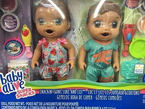 ベビーアライブ 赤ちゃん おままごと ベビー人形 Baby Alive Super Snacks Exclusive Snackin Twins Luke and Lily Medium Skin Brown Hair Green Eyesベビーアライブ 赤ちゃん おままごと ベビー人形
