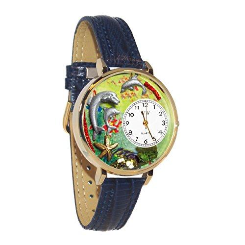 気まぐれな腕時計 かわいい プレゼント クリスマス ユニセックス 【送料無料】Dolphin Navy Blue Leather and Goldtone Watch #WG-G0140004気まぐれな腕時計 かわいい プレゼント クリスマス ユニセックス