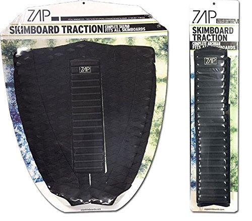 サーフィン スキムボード マリンスポーツ Zap Skimboard Deluxe Traction Pad Set/Skim Board Grip Combo/Tail Pad & Arch Bar (Black/Green)サーフィン スキムボード マリンスポーツ