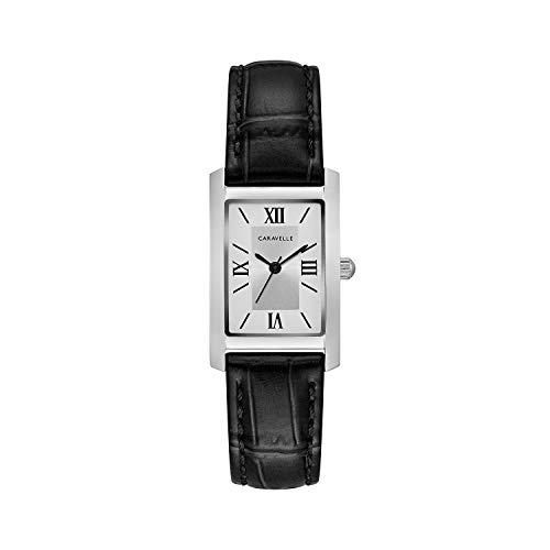 ブローバ 腕時計 レディース 43L202 Caravelle Women's Stainless Steel Quartz Watch with Leather Calfskin Strap, Black, 16 (Model: 43L202)ブローバ 腕時計 レディース 43L202