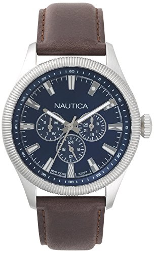 腕時計 ノーティカ メンズ NAPSTB001 【送料無料】Nautica Men's Starboard Stainless Steel Quartz Sport Watch with Leather Calfskin Strap, Blue, 22 (Model: NAPSTB001)腕時計 ノーティカ メンズ NAPSTB001