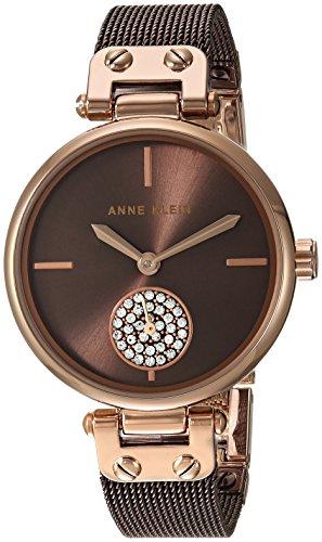 アンクライン 腕時計 レディース AK/3001RGBN 【送料無料】Anne Klein Women's Swarovski Crystal Accented Rose Gold-Tone and Brown Mesh Bracelet Watchアンクライン 腕時計 レディース AK/3001RGBN