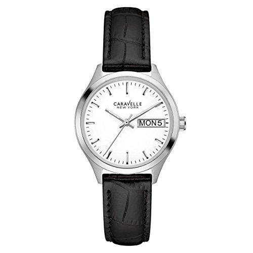 ブローバ 腕時計 レディース 【送料無料】Caravelle 43N103 Women's New York White Dial Black Strap Watchブローバ 腕時計 レディース