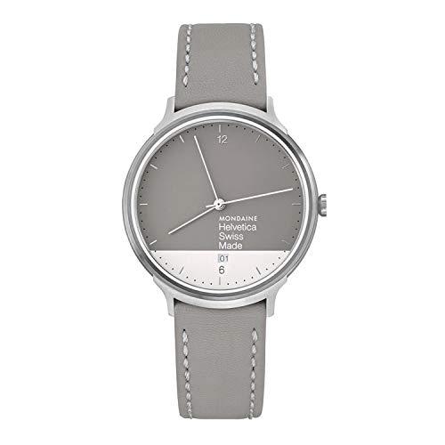 モンディーン 北欧 スイス 腕時計 レディース MH1.L2280.LH Mondaine Helvetica Stainless Steel Quartz Watch with Leather Strap, Grey, 18 (Model: MH1.L2280.LHモンディーン 北欧 スイス 腕時計 レディース MH1.L2280.LH