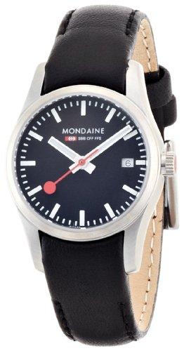 モンディーン 北欧 スイス 腕時計 レディース A629.30341.14SBB 【送料無料】Mondaine SBB Elegant Wrist Watch (A629.30341.14SBB) Swiss Made, Black Leather Strap, Stainless Steel Case, Nightモンディーン 北欧 スイス 腕時計 レディース A629.30341.14SBB