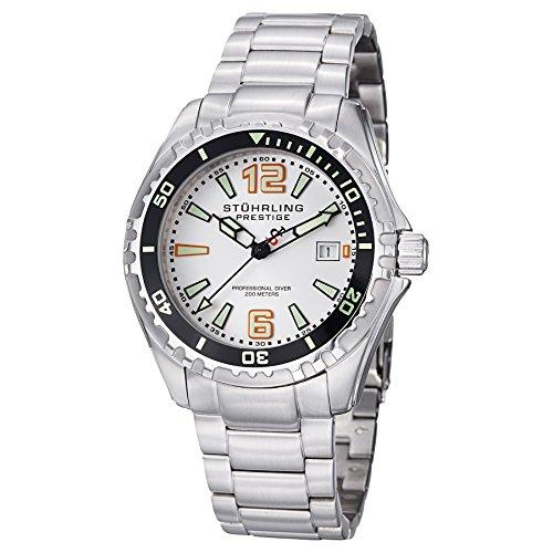 ストゥーリングオリジナル 腕時計 メンズ 382.33112 Stuhrling Original Men's 382.33112 Prestige Swiss Regatta Captain Quartz Diver Date Silver Dial Watchストゥーリングオリジナル 腕時計 メンズ 382.33112