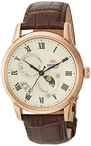 オリエント 腕時計 メンズ FAK00001Y0 【送料無料】Orient Men's Sun and Moon Version 3 Stainless Steel Japanese-Automatic Watch with Leather Calfskin Strap, Brown, 22 (Model: FAK00001Y0)オリエント 腕時計 メンズ FAK00001Y0