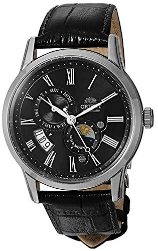 オリエント 腕時計 メンズ FAK00004B0 【送料無料】Orient Men's Sun and Moon Version 3 Stainless Steel Japanese-Automatic Watch with Leather Calfskin Strap, Black, 21 (Model: FAK00004B0)オリエント 腕時計 メンズ FAK00004B0