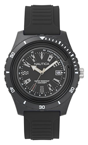 腕時計 ノーティカ メンズ NAPIBZ007 【送料無料】Nautica Men's Ibiza Stainless Steel Quartz Watch with Silicone Strap, Black, 22 (Model: NAPIBZ007)腕時計 ノーティカ メンズ NAPIBZ007