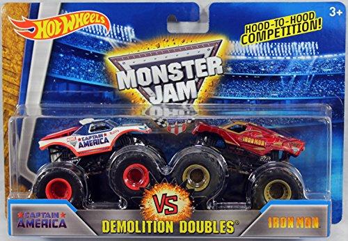 ホットウィール マテル ミニカー ホットウイール 【送料無料】Hot Wheels Monster Jam Demolition Doubles Captain America Vs. Iron Man 1:64 Scaleホットウィール マテル ミニカー ホットウイール