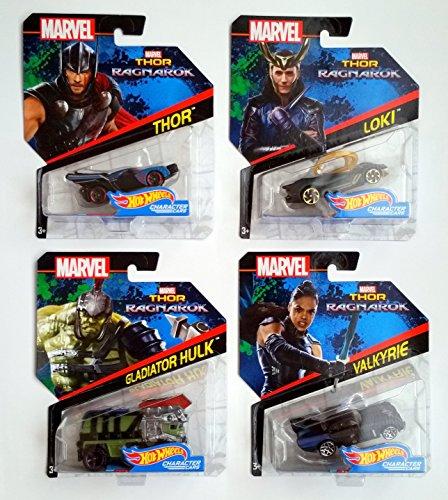 ホットウィール マテル ミニカー ホットウイール Hot Wheels Thor Ragnarok Bundle of 4 Thor, Loki, Gladiatior Hulk and Valkyrieホットウィール マテル ミニカー ホットウイール