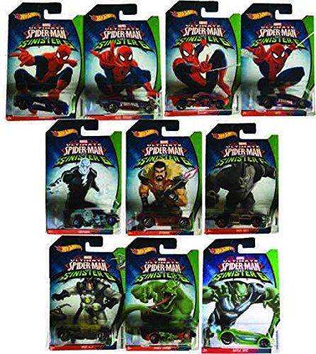 無料ラッピングでプレゼントや贈り物にも 逆輸入並行輸入送料込 ホットウィール マテル ミニカー ホットウイール 送料無料 Hot Sinister 売れ筋 Spider-Man 全国どこでも送料無料 Six Bundleホットウィール Wheels 10-Car 6