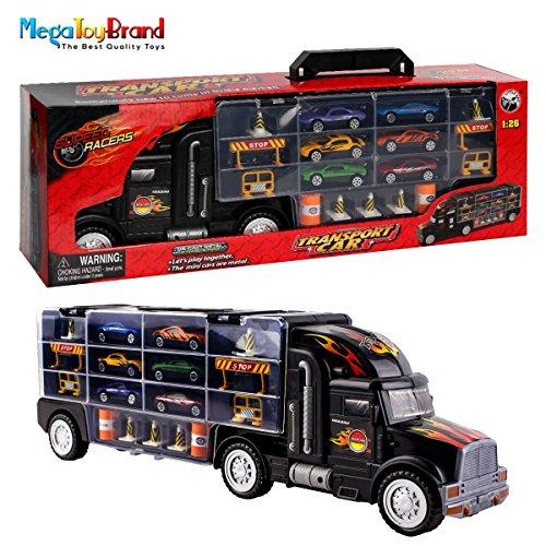 ホットウィール マテル ミニカー ホットウイール Toy Truck Transport Car Carrier Toy for Boys and Girls age 3 - 10 yrs old - Hauler Truck Includes 6 Toy Cars and Accessories - Car Truck Fits 28 Car Slots - Iホットウィール マテル ミニカー ホットウイール