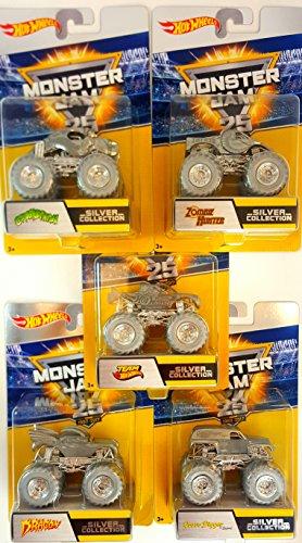 ホットウィール マテル ミニカー ホットウイール 【送料無料】Hot Wheels Monster Jam 25th Silver Collection Set 2 Complete Set of 5ホットウィール マテル ミニカー ホットウイール
