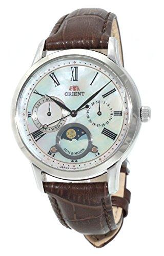オリエント 腕時計 レディース 【送料無料】ORIENT 'Sun & Moon' Pearl Dial Roman Indices Brown Leather Lady Quartz KA0005Aオリエント 腕時計 レディース