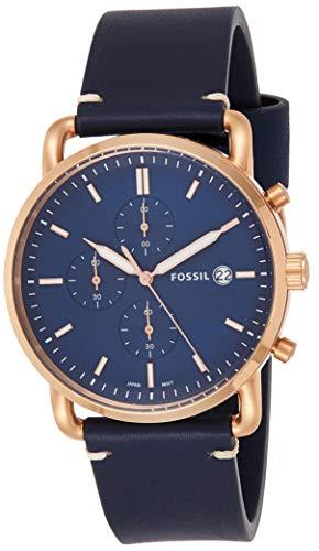 フォッシル 腕時計 メンズ FS5404 Fossil Men's The The Commuter Stainless Steel Quartz Watch with Leather Calfskin Strap, Blue, 22 (Model: FS5404)フォッシル 腕時計 メンズ FS5404