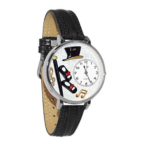 気まぐれな腕時計 かわいい プレゼント クリスマス ユニセックス 【送料無料】Tap Dancing Black Skin Leather and Silvertone Watch #WG-U0420007気まぐれな腕時計 かわいい プレゼント クリスマス ユニセックス
