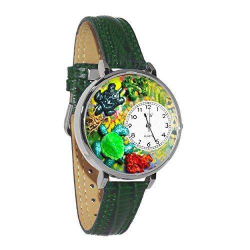 気まぐれな腕時計 かわいい プレゼント クリスマス ユニセックス Turtles Hunter Green Leather and Silvertone Watch #WG-U0140003気まぐれな腕時計 かわいい プレゼント クリスマス ユニセックス