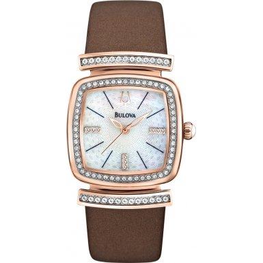 ブローバ 腕時計 レディース 【送料無料】Bulova 98L184 Ladies Crystal Brown Leather Strap Watchブローバ 腕時計 レディース