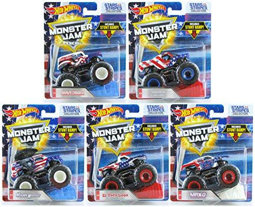 ホットウィール マテル ミニカー ホットウイール Hot Wheels Monster Jam Stars and Stripes Collection Set of 5 Grave Digger, Max-D, Soldier Fortune, El Toro Loco, Mohawk Warrior with Exclusive U.S. Flag Paintホットウィール マテル ミニカー ホットウイール