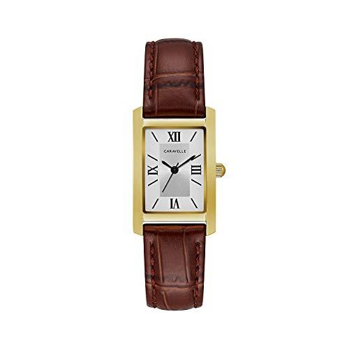 ブローバ 腕時計 レディース 44L234 【送料無料】Caravelle Designed by Bulova Women's Stainless Steel Quartz Watch with Leather Calfskin Strap, Brown, 16 (Model: 44L234)ブローバ 腕時計 レディース 44L234