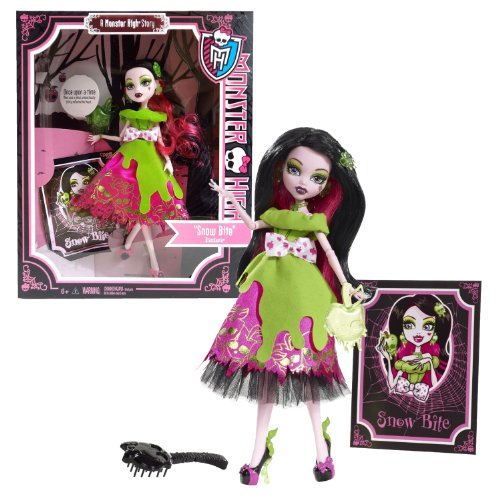 モンスターハイ 人形 ドール 【送料無料】Monster High Mattel Year 2012 Once Upon a Time Story Series 11 Inch Doll Set - Draculaura as Snow Bite with Green Apple-Shaped Purse, Hairbrush and Storybook Cover Shotモンスターハイ 人形 ドール