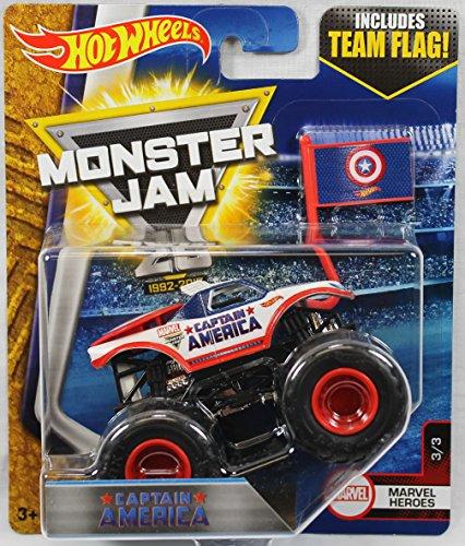 ホットウィール マテル ミニカー ホットウイール 【送料無料】Hot Wheels 2017 Monster Jam 1:64 Scale Truck with Team Flag - Captain Americaホットウィール マテル ミニカー ホットウイール