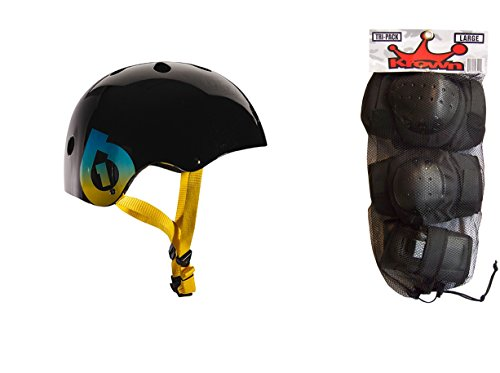 ヘルメット スケボー スケートボード 海外モデル 直輸入 661 Dirt Lid Plus Skate BMX Helmet Black CPSC with Knee Elbow Wrist Pads Largeヘルメット スケボー スケートボード 海外モデル 直輸入