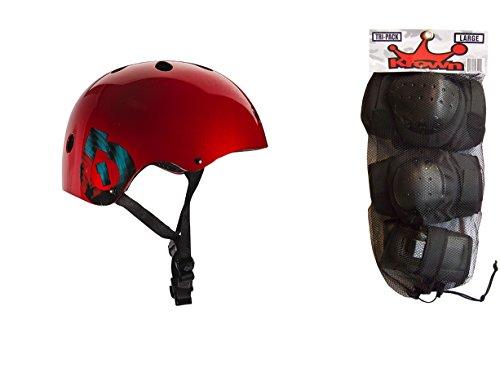 ヘルメット スケボー スケートボード 海外モデル 直輸入 【送料無料】SixSixOne 661 Dirt Lid Plus Skate BMX Helmet Red CPSC with Knee Elbow Wrist Pads Mediumヘルメット スケボー スケートボード 海外モデル 直輸入