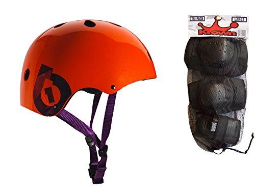 ヘルメット スケボー スケートボード 海外モデル 直輸入 661 Dirt Lid Plus Skate BMX Helmet Orange CPSC + Knee Elbow Wrist Pads Mediumヘルメット スケボー スケートボード 海外モデル 直輸入